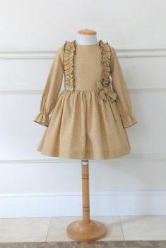 Vestido tejido motas mostaza