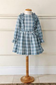 Vestido cuadros azules/crudo de villela